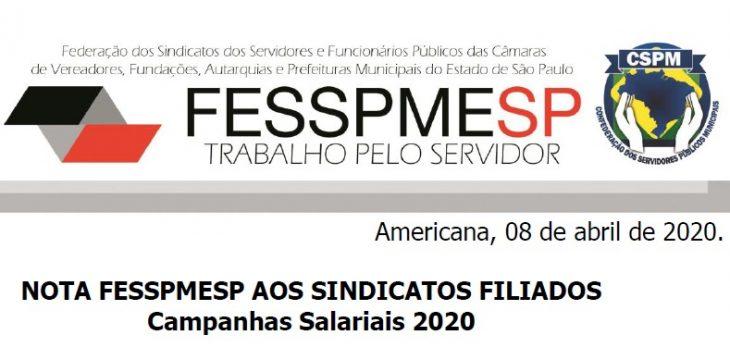 Nota FESSPMESP aos sindicatos filiados - Campanhas Salariais 2020