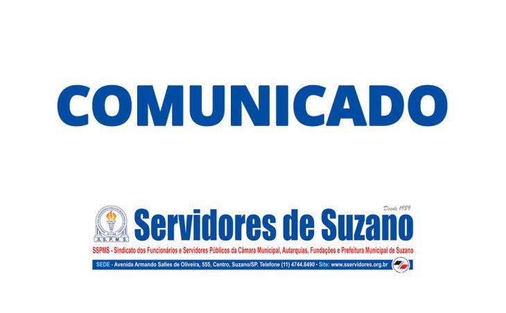 SSPMS - Sindicato dos Servidores de Suzano comunica a prorrogação da abertura da sede