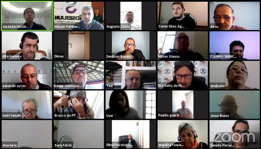 Reunião semanal FESSPMESP com diretoria executiva e sindicatos filiados
