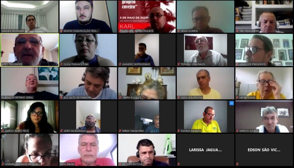Foi realizada mais uma reunião virtual semanal FESSPMESP, na manhã de hoje, 06 de maio de 2020