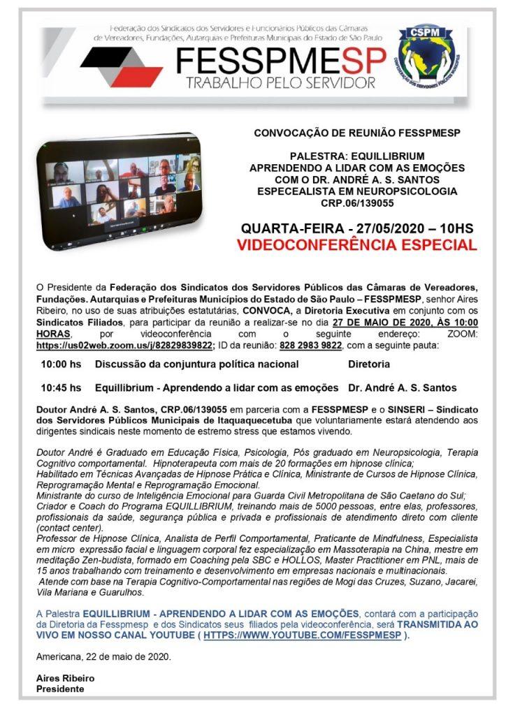 Convocação para Videoconferência Especial FESSPMESP