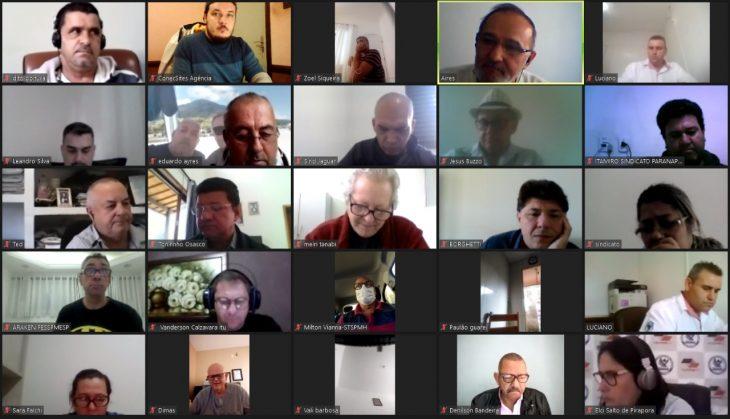 Reunião semanal de diretoria executiva em conjunto com os sindicatos filiados