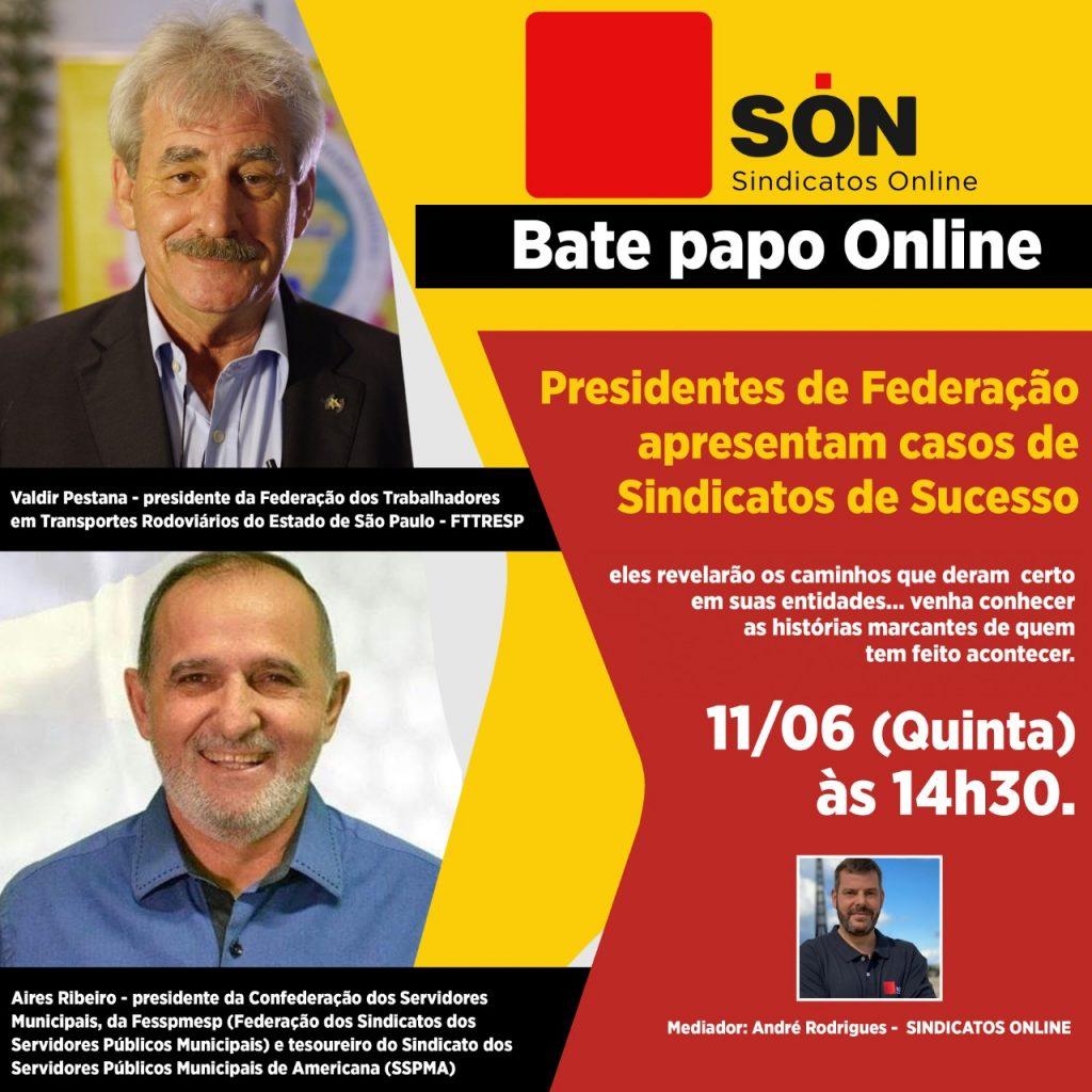 Aires também destaca que a Federação estará ao vivo pelas redes sociais do Sindicatos Online, amanhã dia 11 de junho, falando sobre trabalho e história da FESSPMESP.