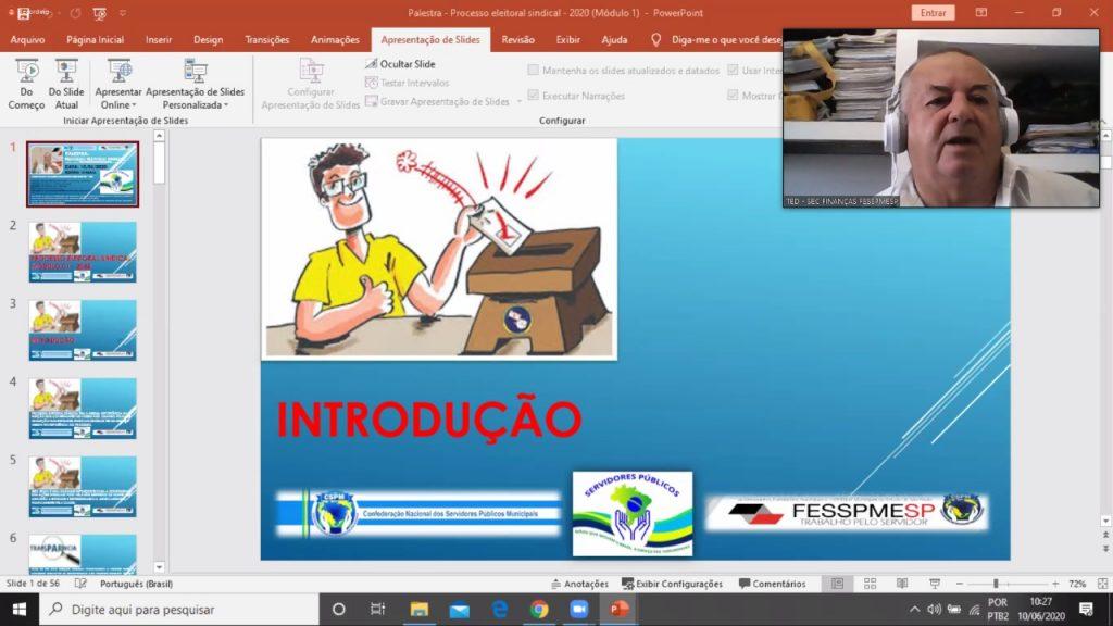 Reunião semanal virtual da direção FESSPMESP e sindicatos filiados com palestra de Cláudio Aparecido dos Santos