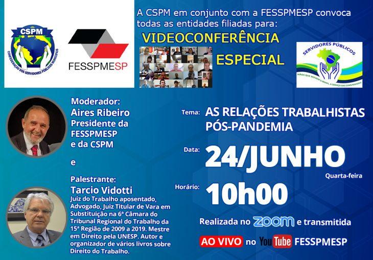 Videoconferência Especial FESSPMESP com palestrante Tarcio Vidotti