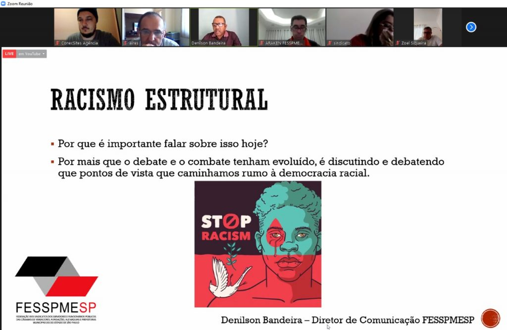 Videoconferência Especial FESSPMESP ao vivo com palestra sobre o Racismo Estrutural