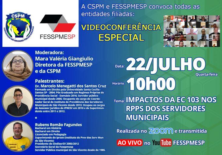 FESSPMESP divulga nova Videoconferência Especial com palestra sobre os Impactos da EC 103 nos RPPS dos Servidores Municipais