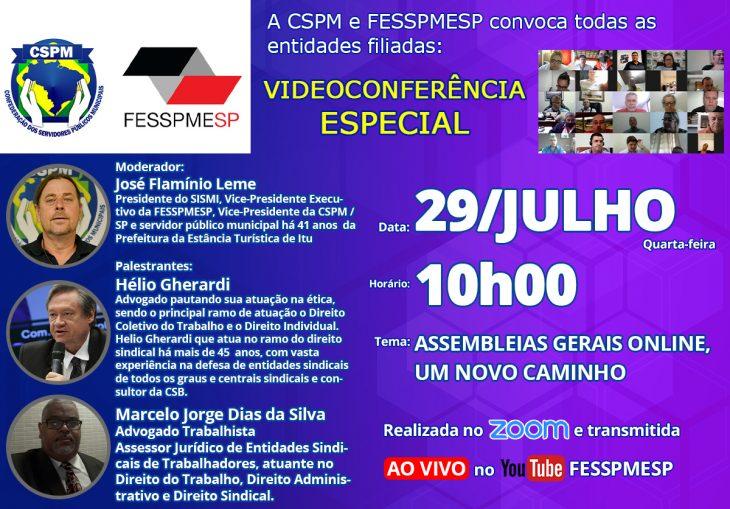 FESSPMESP divulga próxima Videoconferência Especial: Assembleias Gerais Online: Um novo caminho