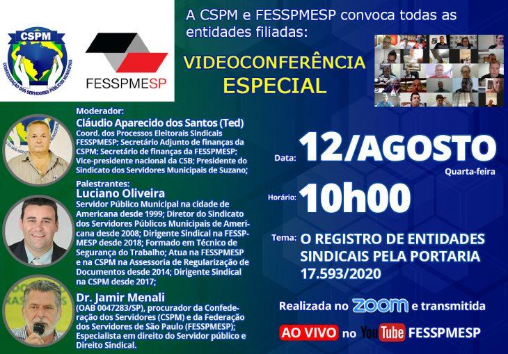 FESSPMESP divulga próxima Videoconferência Especial: O registro de entidades sindicais pela Portaria 17.593/2020