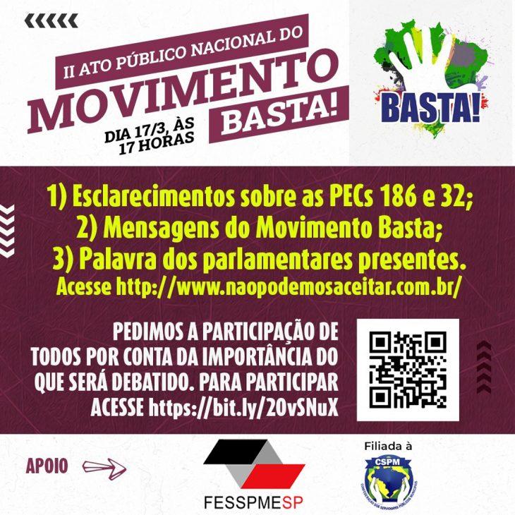 FESSPMESP convoca todos os filiados para o II Ato Público Nacional do Movimento BASTA!