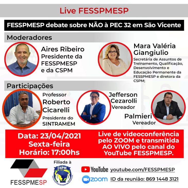 Live FESSPMESP com o Sindicato dos Professores sobre NÃO à PEC 32/2020