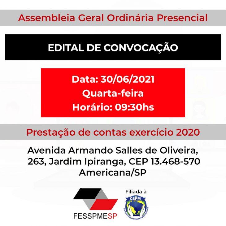 Edital de Convocação - Assembleia Geral Ordinária (Presencial)